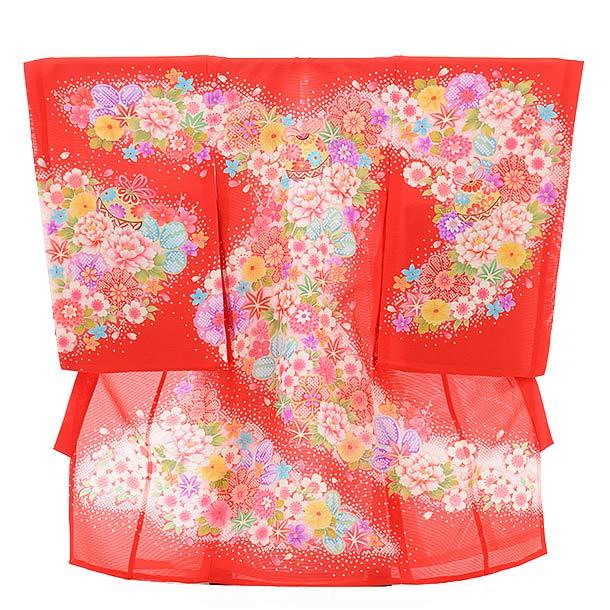 ▶女児産着(お宮参り)正絹 絽 1476 赤地 花に鈴