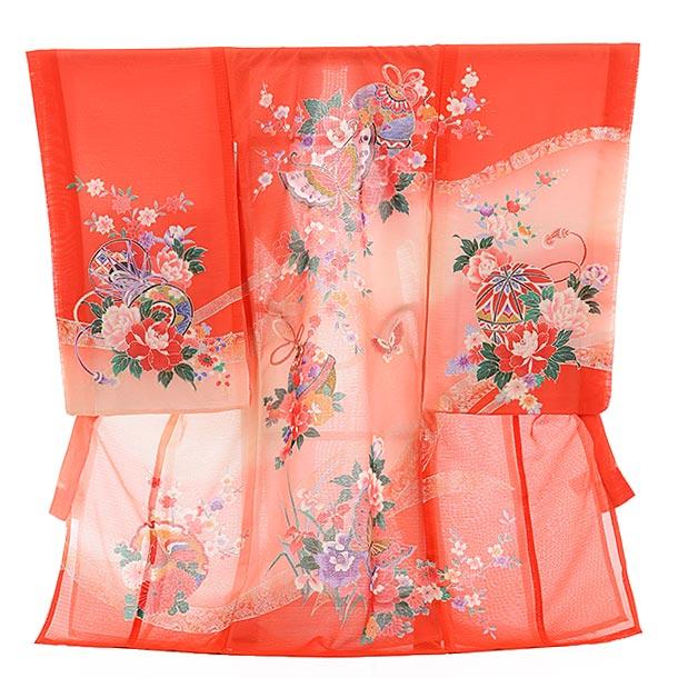 夏用 女児産着 お宮参り 正絹 絽 1477 赤地 ピンクぼかし 牡丹