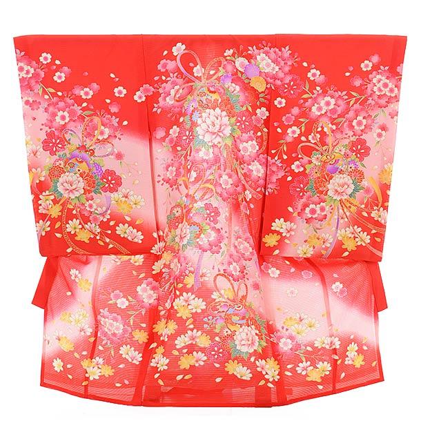 夏用 女児産着 お宮参り 正絹 絽 1478 赤地 のしに牡丹と桜