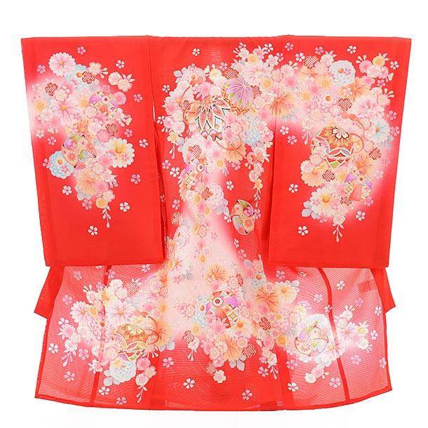 夏用 女児産着 お宮参り 正絹 絽 1479 赤地 うすピンクぼかし のし花