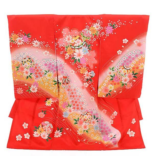 ▶女児産着(お宮参り)正絹 1488 赤地 花にまり