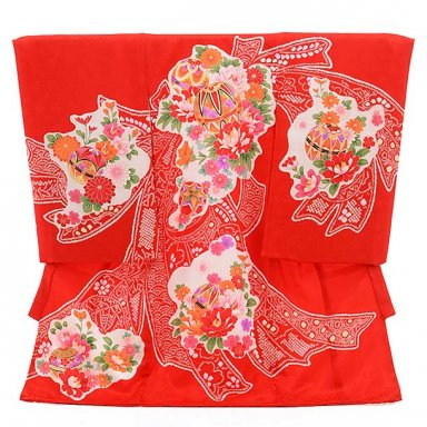 女児産着 お宮参り レンタル  正絹 1492 赤地 のしに鹿の子 鞠