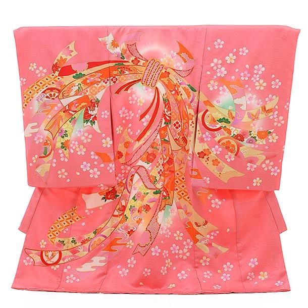 女児産着 お宮参り レンタル  正絹 1494 ピンク地 束ねのし