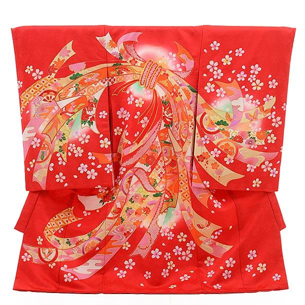 女児産着 お宮参り レンタル  正絹 1495 赤地 束ねのし