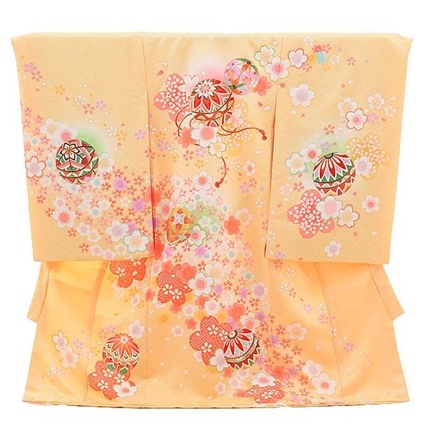 女児産着 お宮参り レンタル  正絹 1496 クリーム色 花と鞠