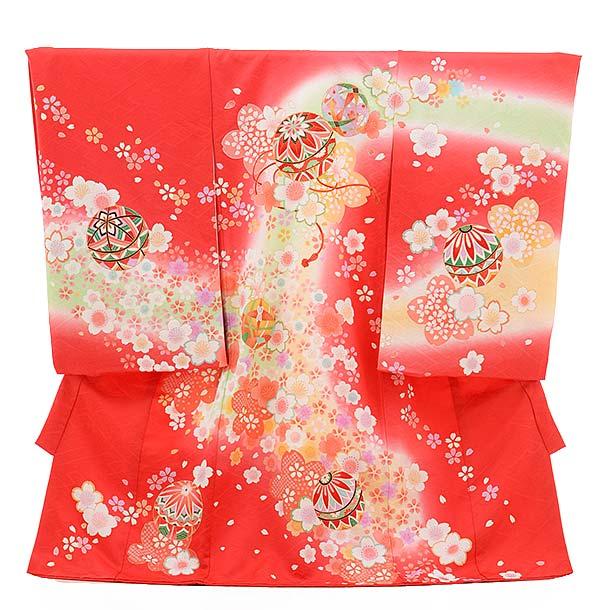女児産着 お宮参り レンタル  正絹 1497 赤地 花と鞠