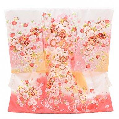 女児産着 お宮参り レンタル  正絹 1515 白地 ピンクに花鞠
