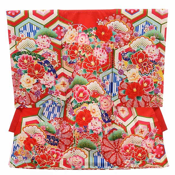 女児産着 お宮参り レンタル  正絹 1517 赤地 古典柄にぼたん