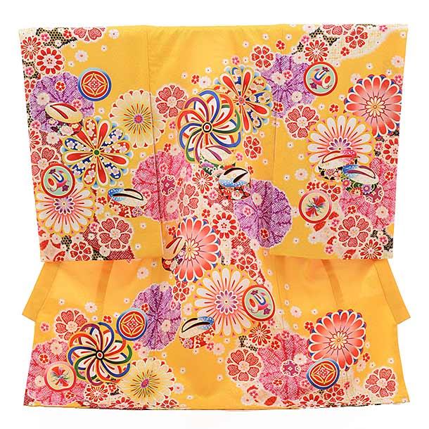 女児産着 お宮参り レンタル  正絹 1519 山吹色 古典柄に花とぽっくり