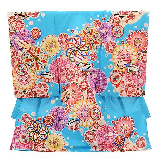 女児産着 お宮参り 正絹 1520 ターコイズ 古典柄に花とぽっくり