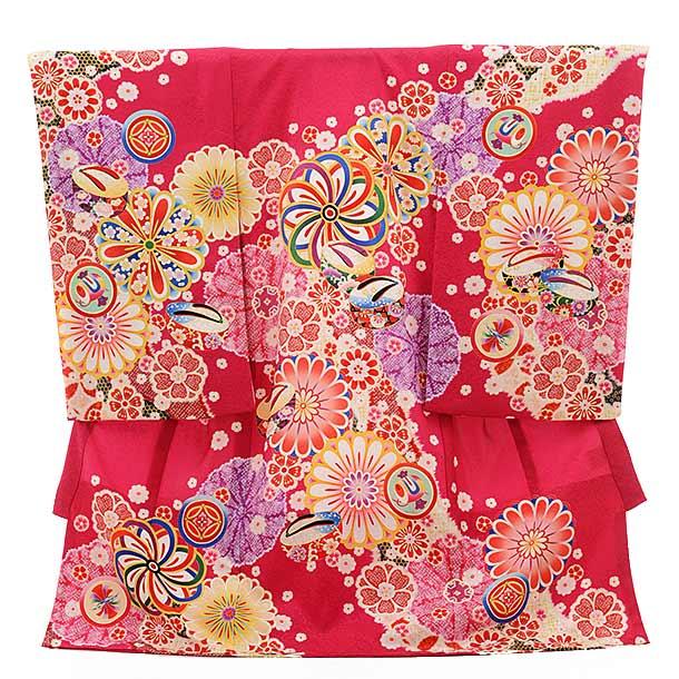 女児産着 お宮参り 正絹 1521 紅ピンク色 古典柄に花とぽっくり