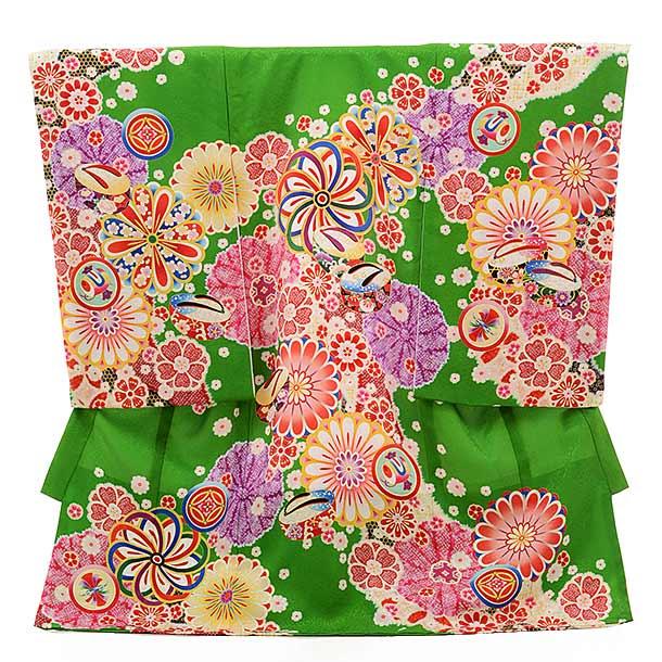 女児産着 お宮参り レンタル  正絹 1522 緑 古典柄に花とぽっくり