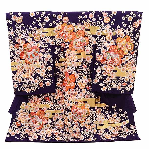 女児産着 お宮参り レンタル  正絹 1524 紫紺 桜づくし