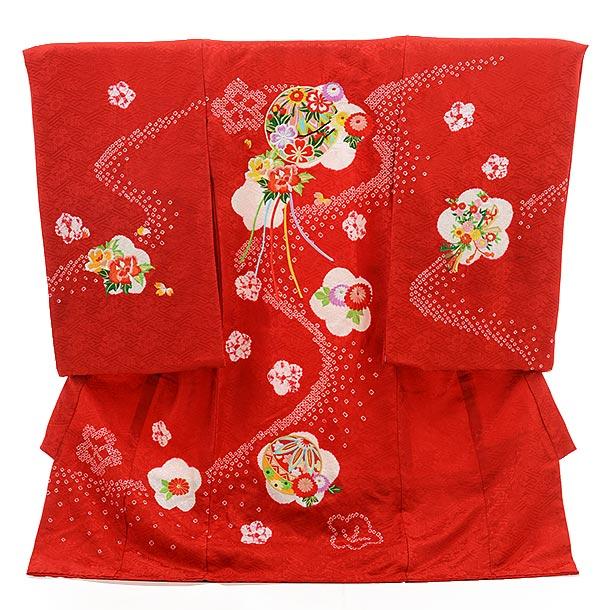 女児産着 お宮参り レンタル  正絹 1529 赤地 鹿の子柄に鞠