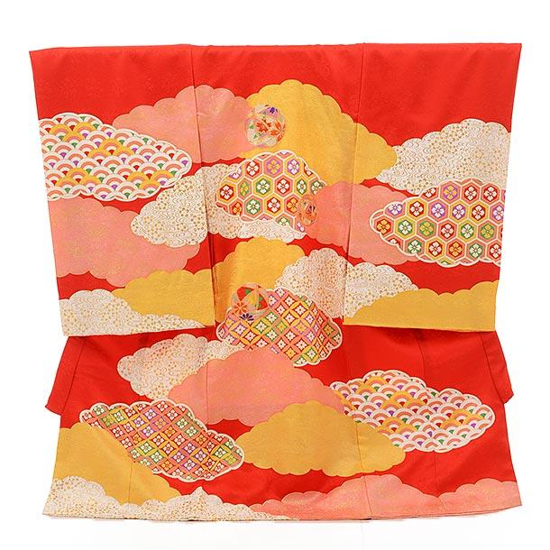 ▶女児産着(お宮参り)正絹 絽 1477 赤地 ピンクぼかし 牡丹