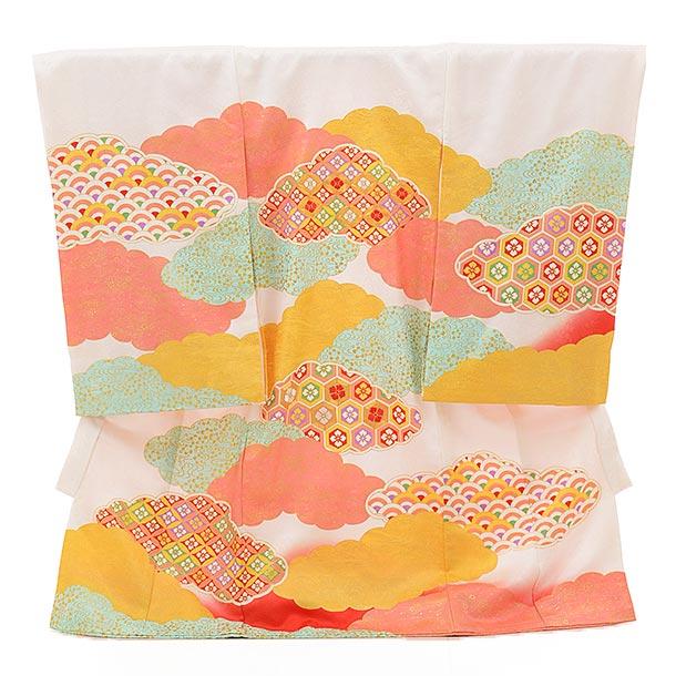 ▶女児産着(お宮参り) 正絹 1547 白地 雲取りに古典柄