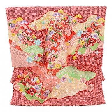 女児産着 お宮参り レンタル  正絹 1549 高級産着 総絞り赤地  鞠