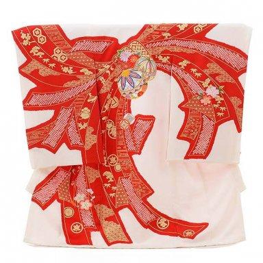 女児産着 お宮参り 正絹 1550 高級産着 刺繍 白地鞠と束ね熨斗