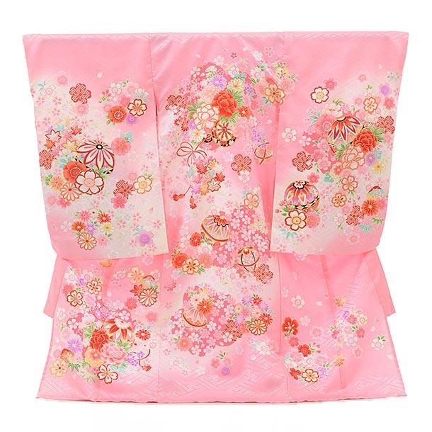 女児産着 お宮参り 1553 単衣 ピンク地 花柄と鞠