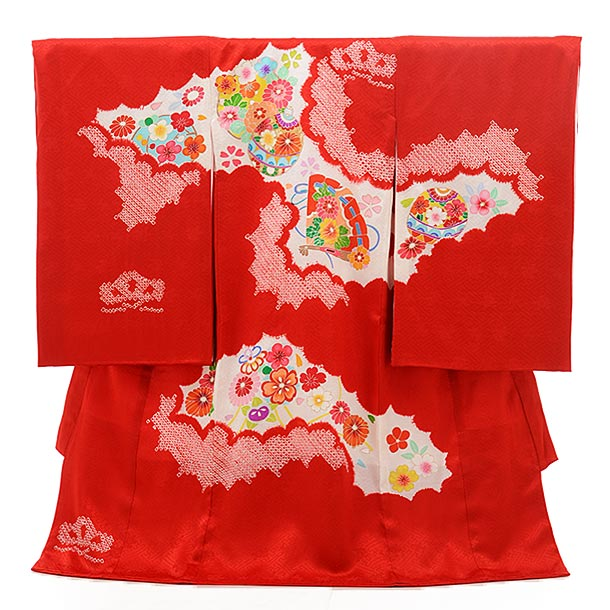 女児産着 お宮参り レンタル  正絹 1563 高級産着 絞り赤地 桧扇 鈴