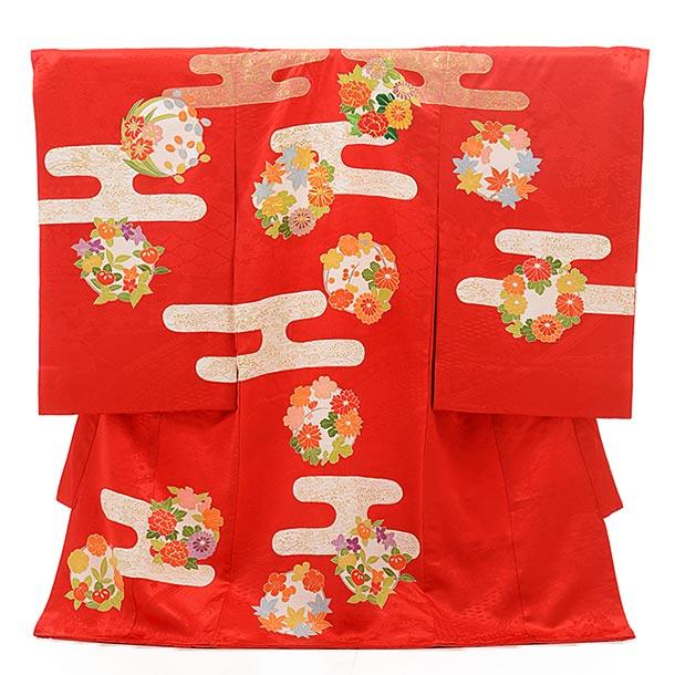 ▶女児産着(お宮参り)正絹 1565 赤地 霞に花紋