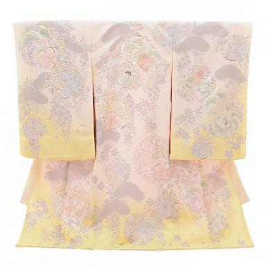 女児産着 お宮参り 1566 ナチュラルビューティー 薄黄色 梅に椿