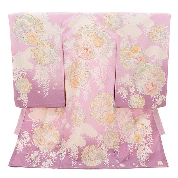 女児産着 お宮参り 1567 ナチュラルビューティー ピンク紫 梅に椿