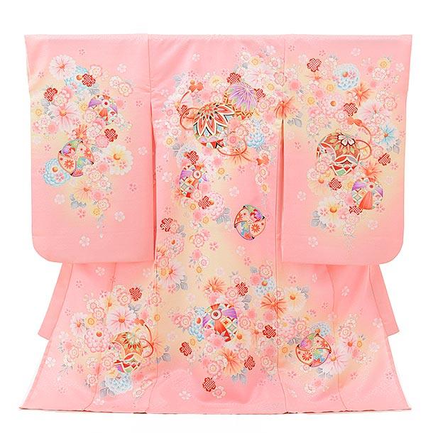 女児産着 お宮参り 1569 単衣 ピンクラメ地 桜にまり