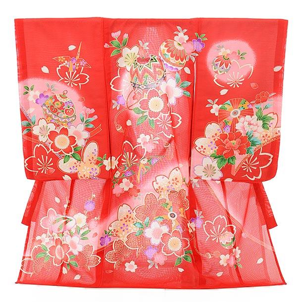 夏用 女児産着 お宮参り 正絹 絽 1577 赤地 まり桜