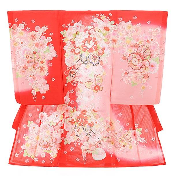 夏用 女児産着 お宮参り 正絹 絽 1578 赤地 ピンクぼかし花車