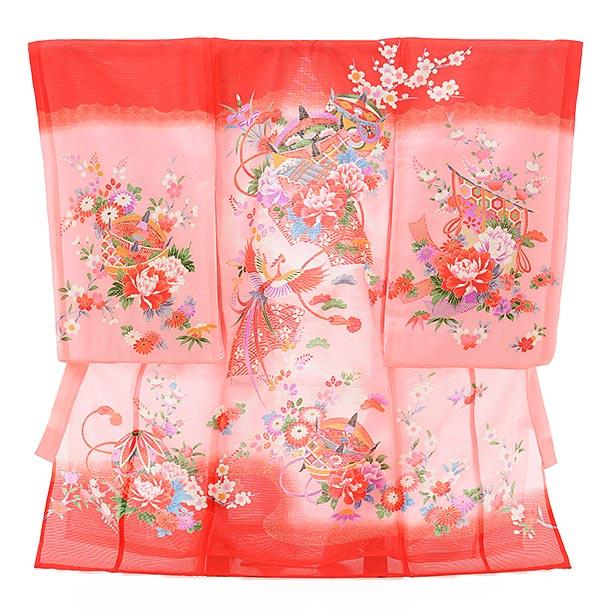 夏用 女児産着 お宮参り 正絹 絽 1579 赤地 ピンクぼかし 扇に牡丹