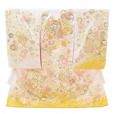 高級正絹女児産着 お宮参り 正絹 1592 白地裾黄色 金彩牡丹とまり