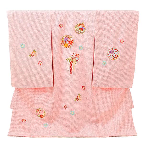 高級正絹産着レンタル 女の子 お宮参り 正絹 1593  ピンク絞り 鞠刺繍