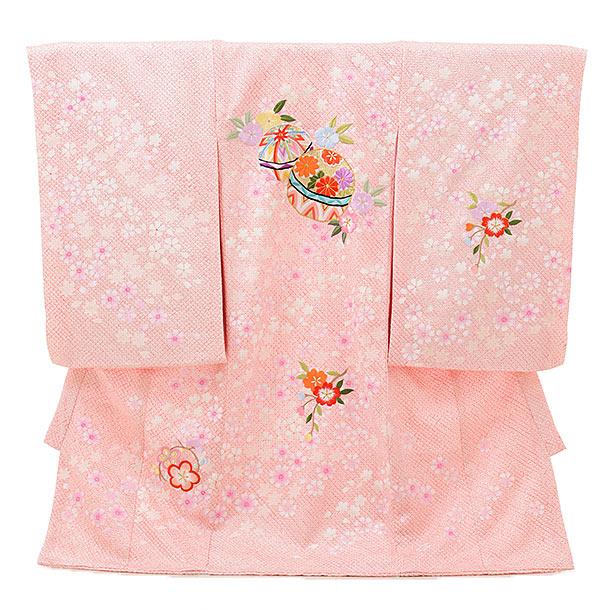 高級正絹産着女の子 お宮参り 正絹 1594  ピンクラメ 絞り桜 鞠刺繍