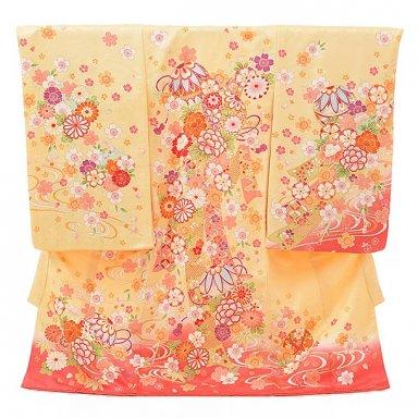 高級正絹産着レンタル 女の子(お宮参り)1595 クリーム 裾ピンク熨斗にまり