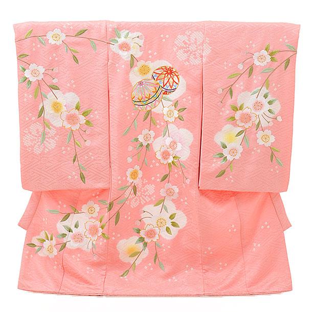 高級正絹産着レンタル 女の子 お宮参り 正絹 1596  ピンク 絞り桜 鞠刺繍