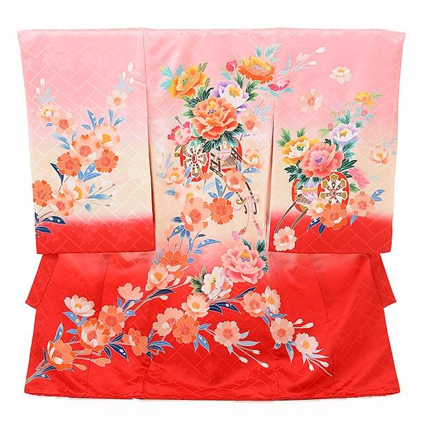 ▶女児産着(お宮参り)正絹 1603 京友禅 ピンクぼかし裾赤 花車