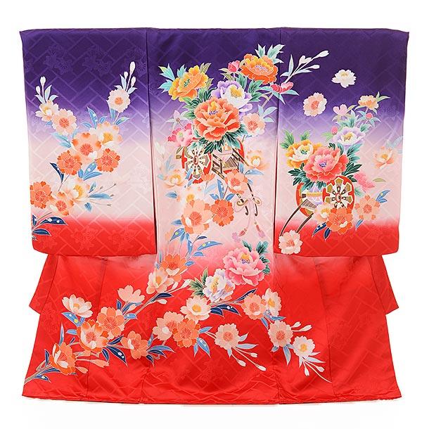 ▶女児産着(お宮参り)正絹 1604 京友禅 紫赤ぼかし 花車
