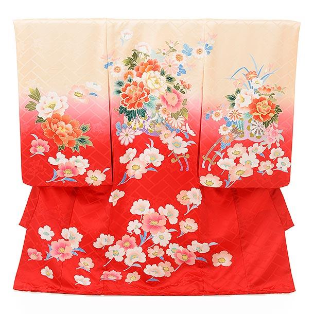 ▶女児産着(お宮参り)正絹 1605 京友禅 淡オレンジ 赤ぼかし花車