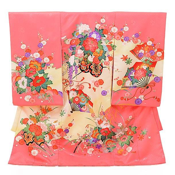 ▶女児産着(お宮参り)1614 ターコーイズイエローぼかしバラ