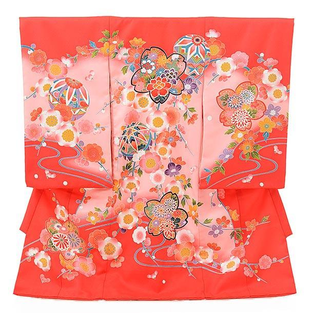 ▶女児産着(お宮参り)1616 赤地ピンクぼかし桜まり
