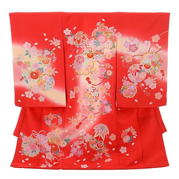 女児産着 お宮参りレンタル1685 正絹  赤地 雪輪 桜まり