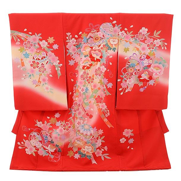 女児産着 お宮参りレンタル1687 正絹  赤地 桜熨斗 鈴 牡丹