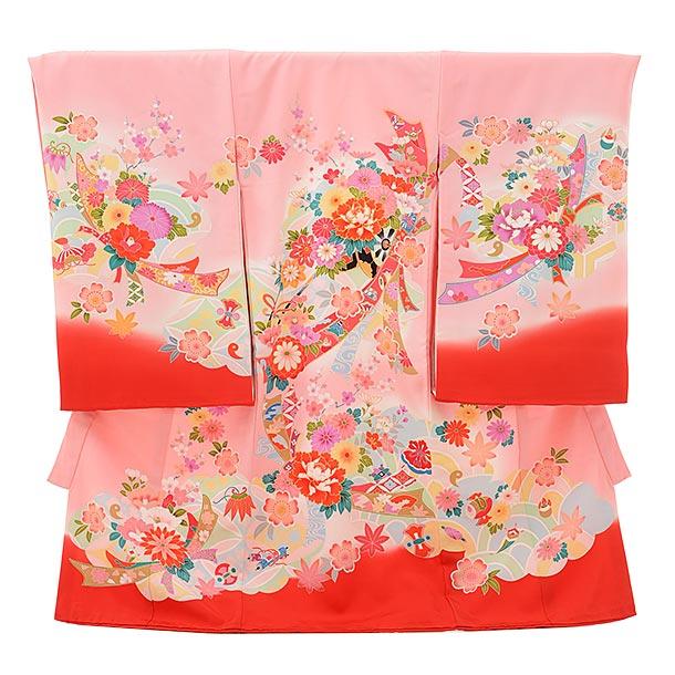 女児産着 お宮参りレンタル1690 正絹 ピンク地 花車に熨斗