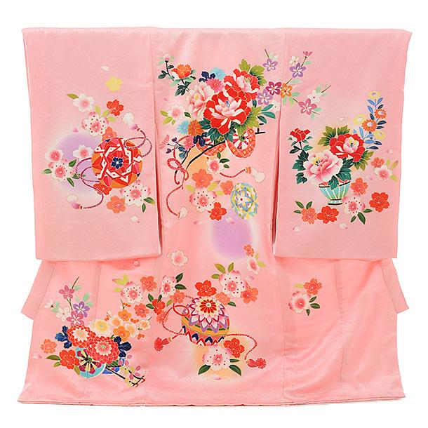 女児産着 お宮参りレンタル1691 正絹 ピンク地 花車にまり