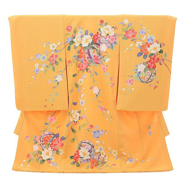 女児産着 お宮参りレンタル1694 高級正絹【百貫達夫】 杏色 枝花にまり