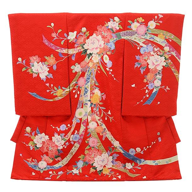 女児産着 お宮参りレンタル1695 高級正絹【百貫達夫】赤地 束ね熨斗に牡丹