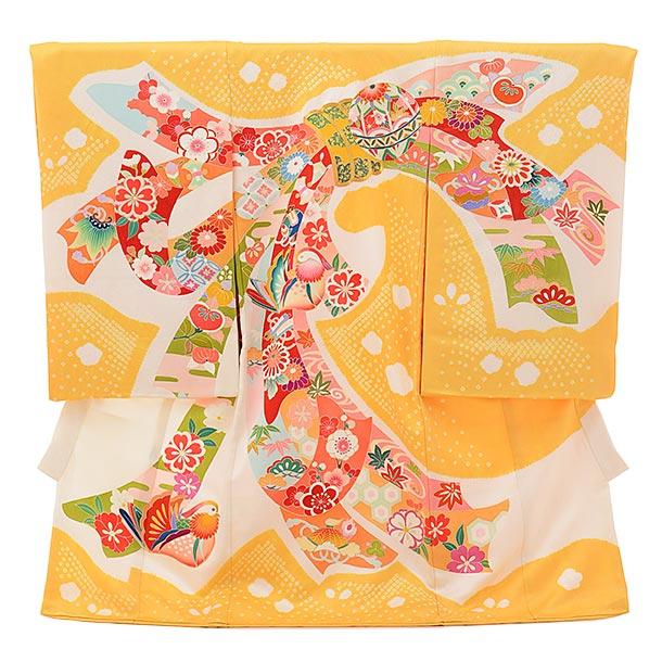 女児産着 お宮参りレンタル1697  高級正絹【百貫達夫】黄色束ね熨斗におしどり