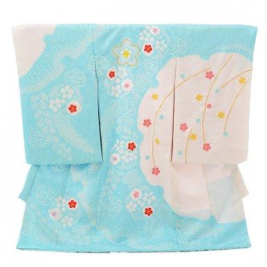 女児産着 お宮参りレンタル1702 正絹 水色 絞り 雪輪 梅