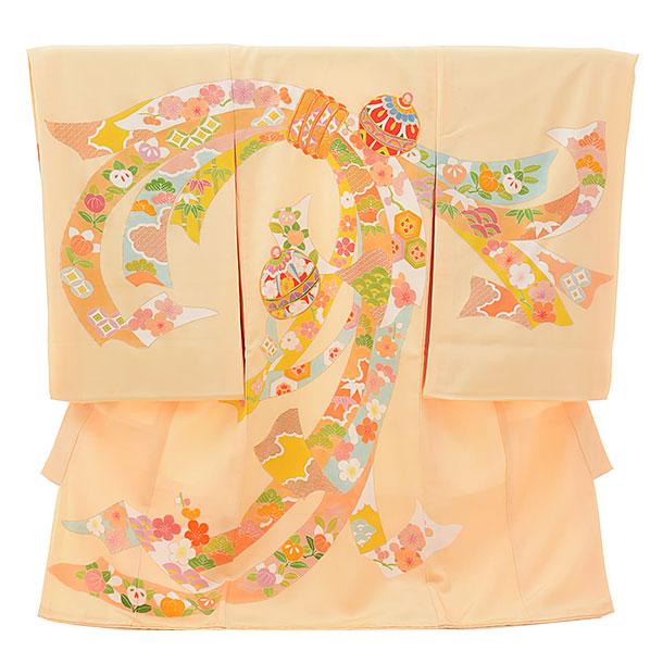 女児産着 お宮参りレンタル1703 正絹 薄オレンジ色 束ねのし 鈴